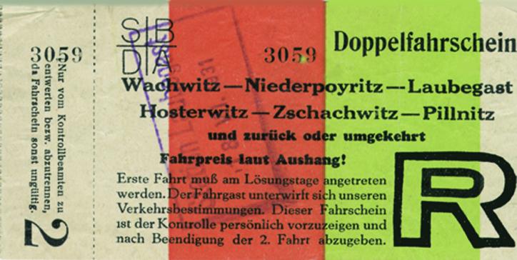1931 Fahrschein-Wachwitz-Pillnitz