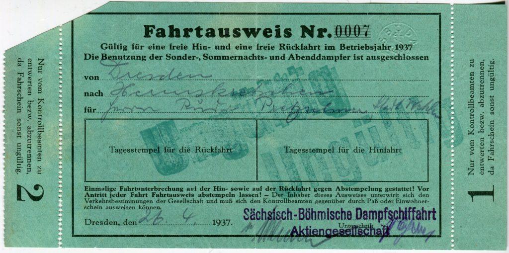 1937 Freifahrtkarte