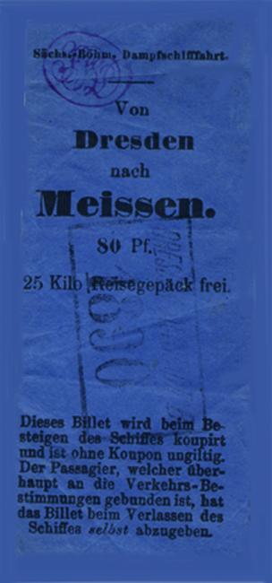1890 - Eine Fahrkarte der SBDG nach Meissen