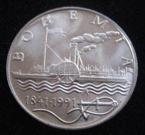 Tschechien widmet 1991 eine Silbermünze und eine Briefmarke dem PD BOHEMIA von Ruston