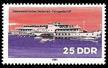 1981 veröffentlichte die Post der DDR eine Serie zur Binnenschiffahrt, mit Ansicht eines Dresdner Motorschiffes